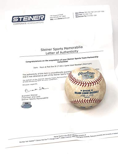 (Boston Redsox 8/17/11 Vs Tampa Bay Devil Rays Game Used MLB Baseball (Actually Used In This MLB Game) Steiner Sports Certified)