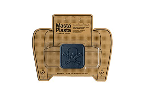 MastaPlasta Self-Adhesive Patch for Leather and Vinyl Repair, Pirate, Navy - 2 x 2 Inch