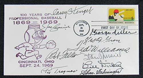 HOFer Signed Cachet First Day Cover Ted Williams George Sisler Pie Traynor Lefty Grove ()