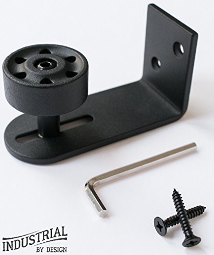 Adjustable Stay Roller Guide for Sliding Barn Door ▫ Only Roller Guide Flush With Floor ▫ Ball Bearing In Wheel Provides Smooth Roll ▫ Includes Installation Screws ▫ Superior Quality Powder Coating