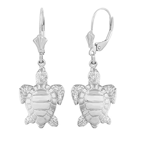 925 Sterling Silver Good Luck Sea Turtle Leverback