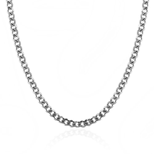HZMAN Classic Mens Necklace 316L Stainless Steel Cuban Curb Chain Silver Gold Black 3 Color, 8mm Length18~30