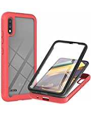 CRABOT Compatible with LG K22/K22+ Case Dust-Proof Shockproof Full Protection Cases Built-in Screen Protector Body 360℃ Fully Sealed Protective Front and Back Cover-Red