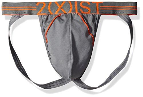 Lead Strap - 2(X)IST Men's Sport Mesh Jock Strap, Lead/Orange, Small