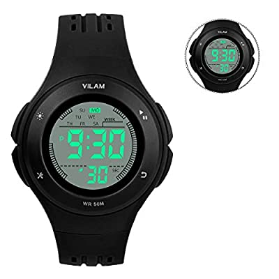 Kids Watch Waterproof Children Electronic Watch - Lighting Watch 50M Waterproof for Outdoor Sports,LED Digital Stopwatch with Chronograph, Alarm,Time Window Child Wrist Watch for Boys, Girls (Black) from PERSUPER
