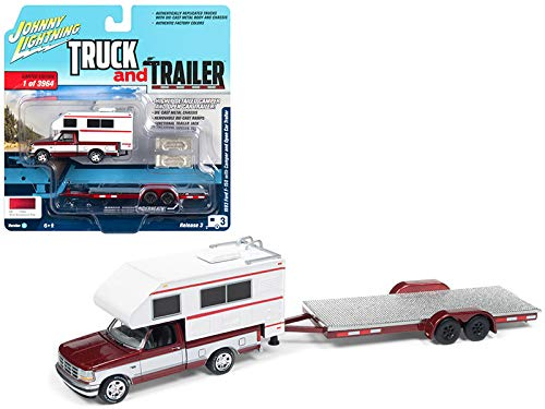 - 1993 Ford F-150 Red with White Camper and Chrome Open Car Trailer Limited Edition to 3,964 Pieces Worldwide Truck and Trailer Series 3 1/64 Diecast Model Car by Johnny Lightning JLSP036 A