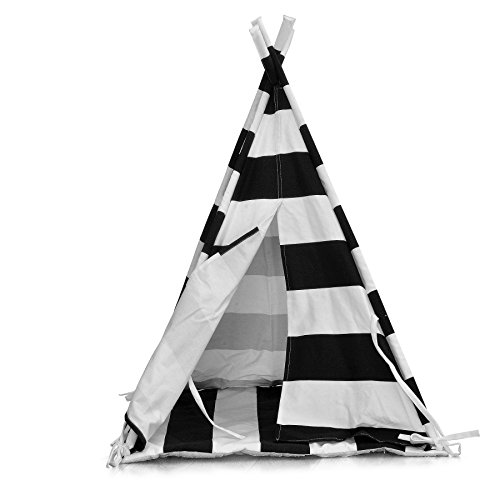 (LUVE Pet Teepee Tent for Dogs Cats 28 inch Portable Foldable Cotton Canvas Pets House Bed with cushion (Black Stripes))