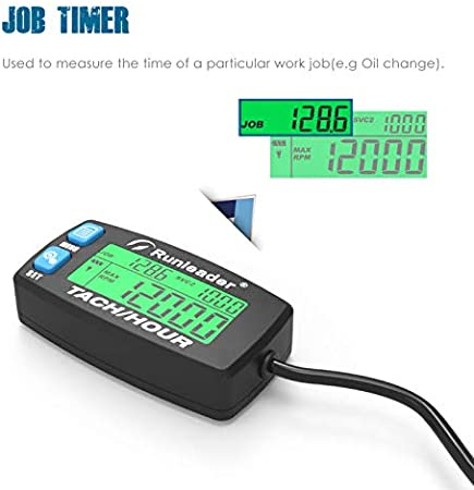 Runleader Hour Meter Tachometer,Maintenance Reminder,Alert RPM,Backlit Display,Initial Hours Setting,Battery Replaceable,Use for ZTR Mower Generator Marine ATV and Gas Powered Device. Button-Blue