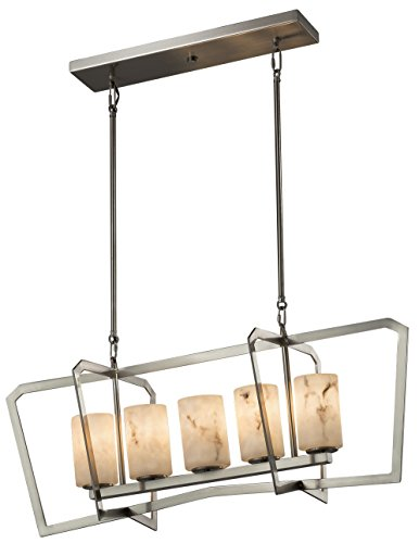 Justice Design Group Lighting FAL-8015-10-DBRZ Lumenaria Aria 5-Light Chandelier Finish with Faux Alabaster Cylinder with Flat Rim Shade, Dark Bronze (Aria 10 Light Chandelier)
