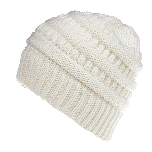 NRUTUP Knit Hats for Women, Thick, Soft & Warm Chunky Beanie Hats for Women & Men - Serious Beanies for Serious Style.(White,Free Size) -