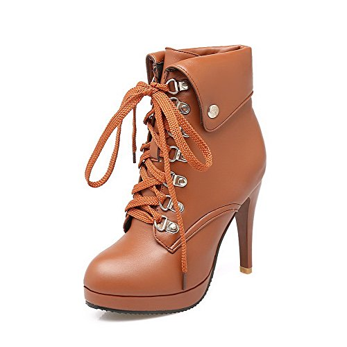 Closed Toe Solid Top Low High Soft Heels Brown AgooLar Women's Boots Round Material Eqt44H