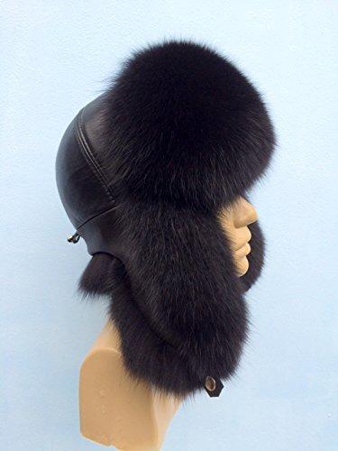 (Blue Fox Fur Ushanka Hat Black Color With Leather Saga Furs Women's)