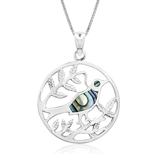 - Honolulu Jewelry Company Sterling Silver Abalone Paua Shell Bird on Branch Circle Necklace Pendant with 18