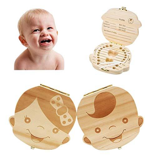 Caja de Dientes,Caja de Almacenamiento de Dientes de Leche,Caja de Madera para Guardar Dientes Pelo Fetal para Bebés (Niño)