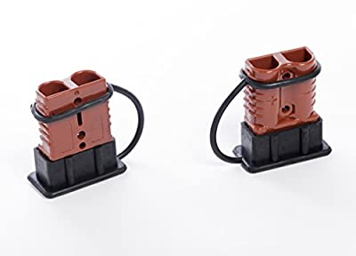 Alfa Wheels Premium 2-4 AWG Battery Quick Connect & Disconnect Plug Set With 350 Amps Max Capacity - Weather-proof Rubber Caps Included - Easy To Install - Perfect For Winch Trailers