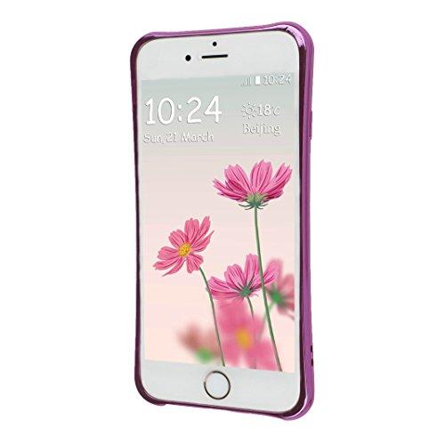 Funda iPhone 7 Silicona, Rosa Schleife Ultra delgado Cubierta de la caja del silicón de TPU Caso Carcasa cubrir con diseño de chapado de la contraportada Función de Soporte Funda de Móvil para el iPho Edge Plating - Rosado