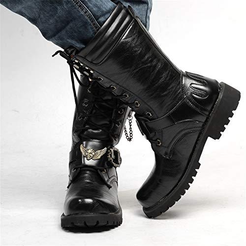British Uniformi Da Steampunk Boot Moto Stivali Moto Impermeabile Gothic Punk Mens Western Leather Scarpe Fashion Cowboy Da Army Boot Genuine 45 Skull Martin Alto Stivali gR6xEfwxq