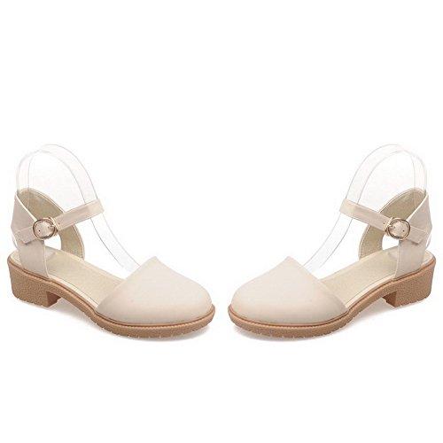 AllhqFashion Mujeres Puntera Cerrada Mini Tacón Hebilla Sólido Sandalias de vestir Beige