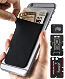 Cell Phones Wallet Pocket for Back of Phones - Gecko Stick-on Adhesive Pockets (Blank - Black)