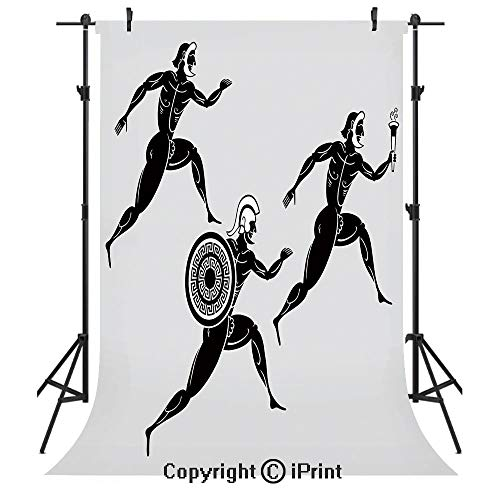 (Toga Party Photography Backdrops,Historical Ancient Spartan Runners Antique Body Heritage Illustration Decorative,Birthday Party Seamless Photo Studio Booth Background Banner 6x9ft,Light Grey Black)