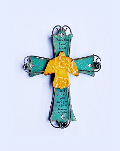 Unique Wooden Crucifix With Antiqued Metal Decorative Dove And Inspirational Prayer Inscribed On Cross Dove (Design 2) Inscribed Cross