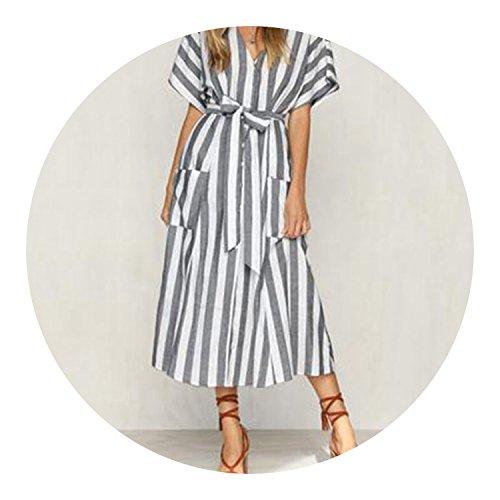 2018 Women V Neck Short Sleeve Vintage Summer Striped Loose Bow Tie Split Hem Vestido,Gray,XXL - Neck Satin Caress