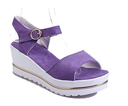 pendiente de verano con dos mujeres gruesas sandalias principales de los pescados corteza estudiante zapatos impermeables Purple