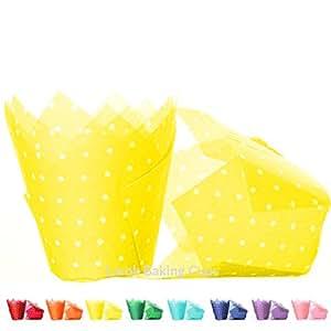 Tulip Cupcake Liners (Polka Lemon) | 100 count