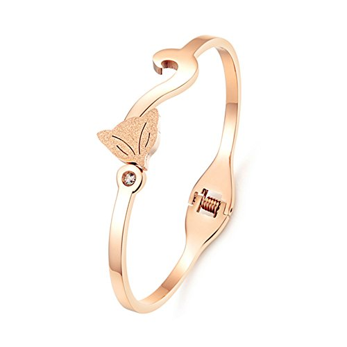O4U Lovely Fox Titanium Steel Zirconia Bangle Bracelet,6.69