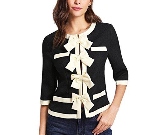 Saneoo Patchwork Bow Front Contrast Trim OL Style Blazer Half Sleeve Colorblock Slim Jacket Women Elegant Work Blazer Black M