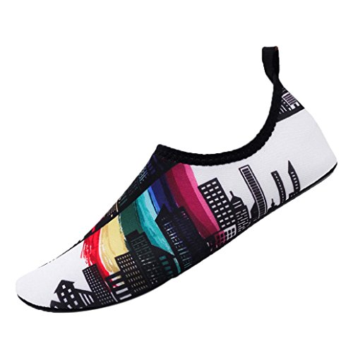 ens and Mens Summer Outdoor Water Shoes Aqua Socks Beach Swim Surf Yoga Exercise(US:6-6.5, White) ()