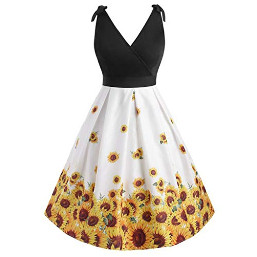 (Women's V-neck Sunflower Dress,Print Stitching Sleeveless Back Plus Size Dress,Sunsee Womens Tops Plus Size Clearance)