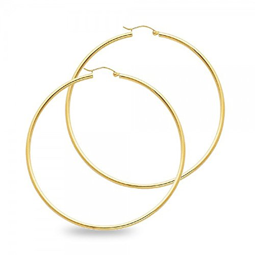 Big Plain Hoop Earrings Solid 14k Yellow Gold Classic Design French Lock Genuine Polished 55 x 2 mm 14k Yellow Gold Plain Hoop