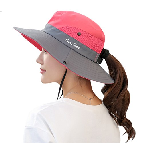 Muryobao Women's Sun Hat Outdoor UV Protection Foldable Mesh Bucket Hat Wide Brim Summer Beach Fishing Cap Watermelon Red, Fit Head Circumference Size: 21