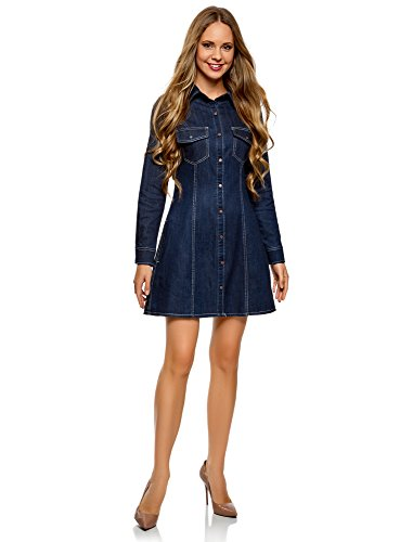 en Chemise Bleu 7900w Jean Ultra Femme Robe oodji 7qnwItYw