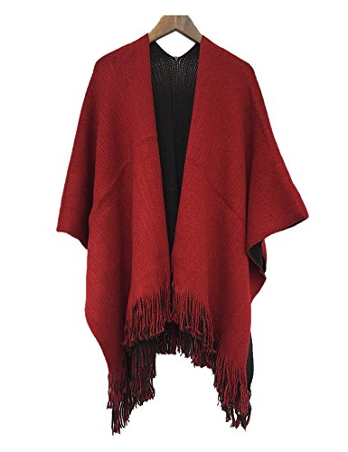 Women Winter Cashmere Oversized Blanket Poncho Cape Shawl Scarf Purplish Red