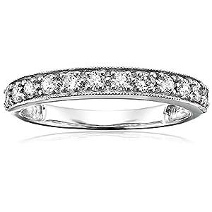 1/2 cttw Milgrain Diamond Wedding Band in 14K White Gold