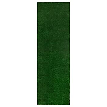 "Ottomanson Evergreen Collection Indoor/Outdoor Green Artificial Grass Turf Solid Design Runner Rug, 27"" x 8"