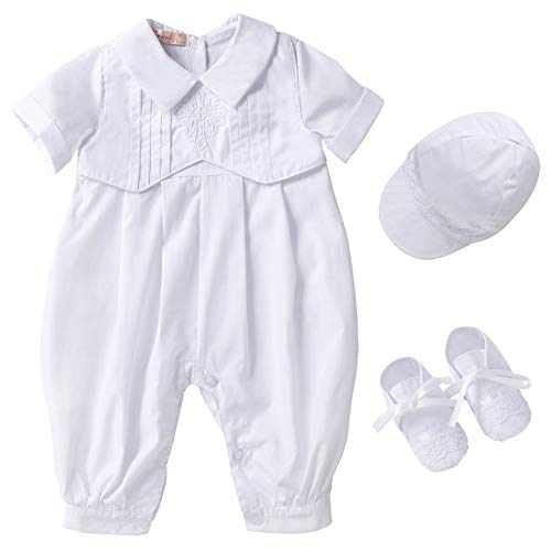 Booulfi Baby Boy's 3 Pcs Set Baptism Outfits with Short, 9-12 Months, Marshmallow -