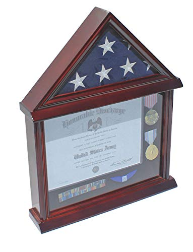 Flag Display Case Military Shadow Box for 3'X5' U.S. Flag, Hardwood, Mahogany Finish (Black Felt)