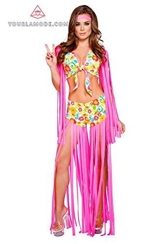 Roma Costume 2pc Foxy Flower Child Costume Bundle with Pink Shorts - Flower Child Costume Rave
