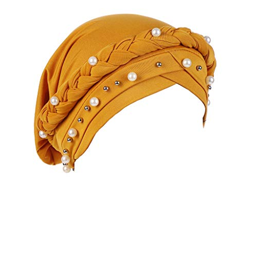 YEZIJIN Women Beading India Hat Muslim Ruffle Cancer Chemo Beanie Turban Wrap Cap Summer Best 2019 New Yellow