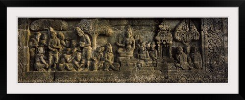 GreatBIGCanvas ''Carvings on the wall, Borobudur Temple, Java, Indonesia'' Photographic Print with Black Frame, 48'' x 15'' by greatBIGcanvas