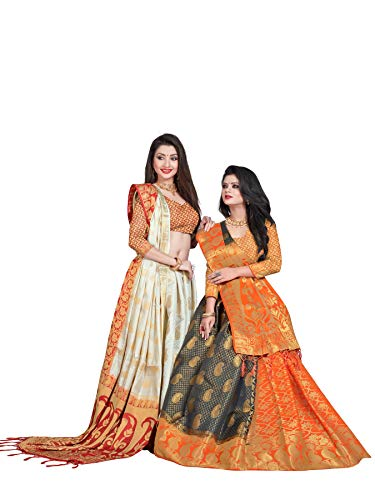 (Mohit Creations Latest Banarasi Silk South Indian Saree with Golden Dual Border (White))