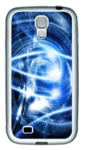 Abstract Blue Art pc pc Soft Case Cover For Samsung Galaxy S4 SIV I9500 White