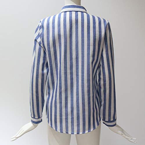 V a Autunno a a per Sexy Donna Primavera Righe Blu Maniche Blusa Scollo con Bottoni Camicie Lunghe Baijiaye Estate Casuali Camicetta 4wZnxH
