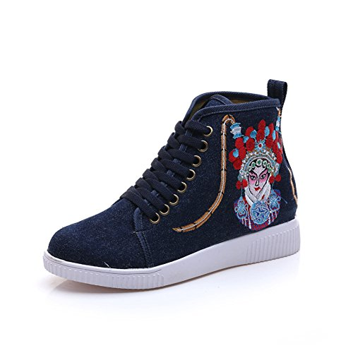 Chinese Embroidery Shoes Chinese style embroidered Canvas Sports Shoes blue