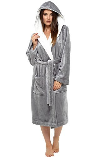 Damas Con Capucha BRILLO Vellón Bata abrigo invierno product image