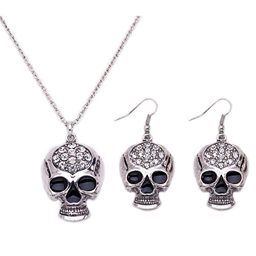Horror Halloween Punk Crystal Ghost Skeleton Skull Gothic Long Pendant Necklace Earrings Jewelry Sets for Women]()