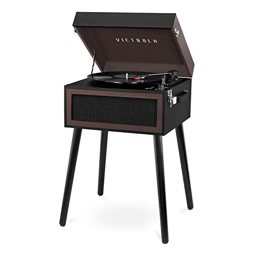 Victrola Bluetooth Record Player Stand with 3-Speed Turntable, Black and Brown (Record Player Brown)